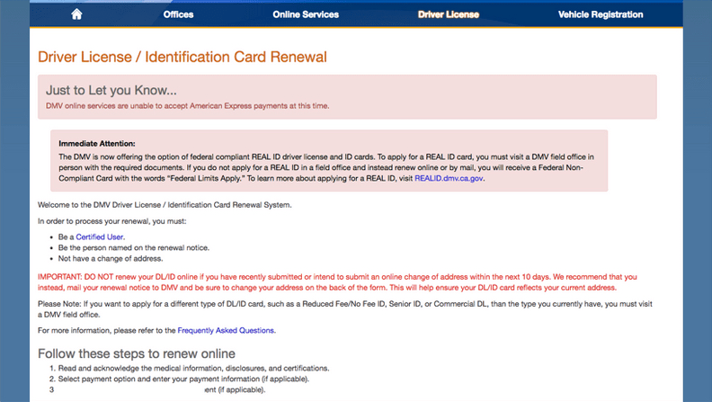 Driving licence renewal on the California Department of Motor Vehicles website.