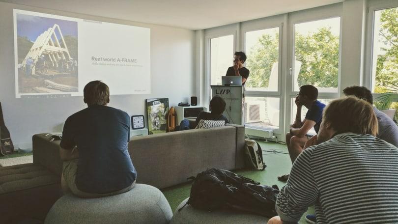 Ben Devine giving a presentation on WebVR/A-Frame