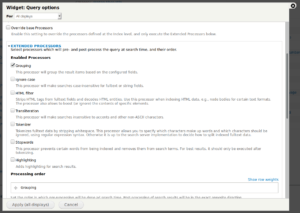 Drupal SearchAPI: view's extended processor settings