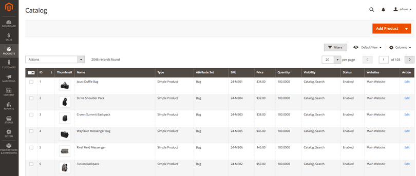 Magento catalog product grid