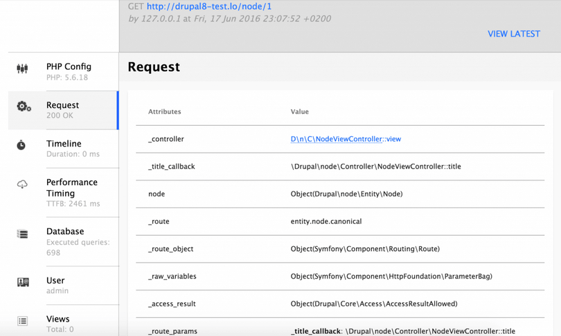 Lets debug in drupal 8 blog liip webprofiler details of a page request pronofoot35fo Gallery