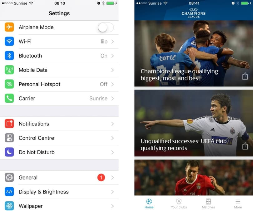 On the left is a list using standard Apple iOS visual components, and on the right the example of the UEFA Champions League mobile app with a custom list view.
