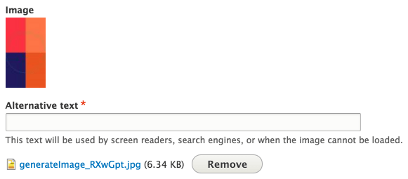A screenshot showing that the alternative text is required when uploading an image in Drupal 8.