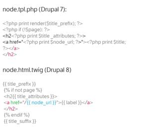 Im Bartik Template zeigt sich die verbesserte Lesbarkeit der Template Files in Drupal 8.