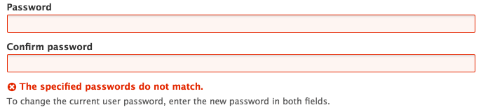 "Screenshot of a password field highlighted in red with an error message below ""The specified passwords do not match"""