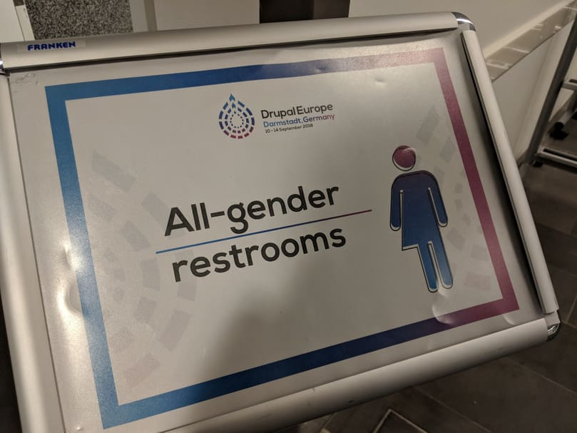 "Sign mentionning ""All-gender restrooms"" at Drupal Europe venue."