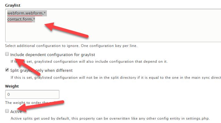 Greylist Webform in Config Split