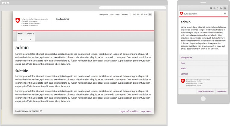 Screenshot of Drupal theme for the Swiss Confederation