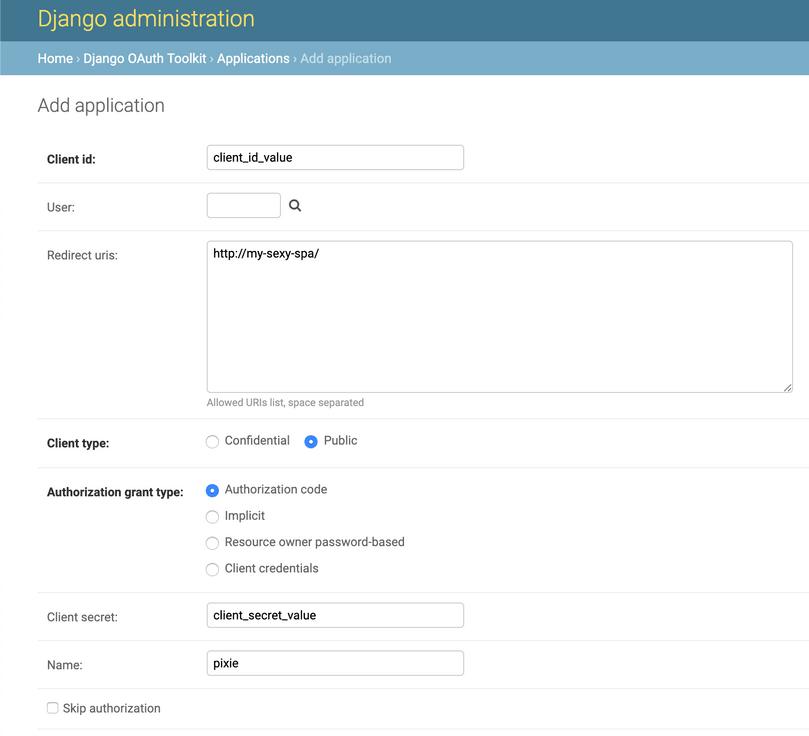 Django Admin - Edit OAuth Application