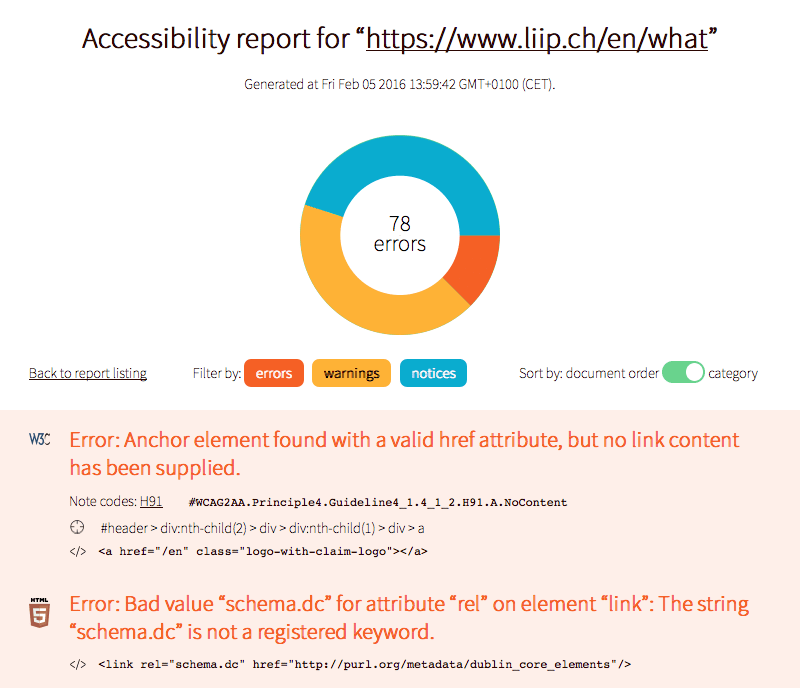 A typical report generated by a11ym