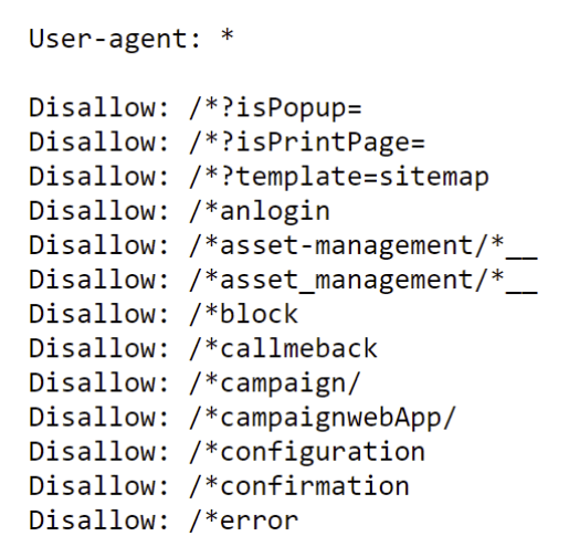 Example of a Robots.txt file with blocked and allowed ressources