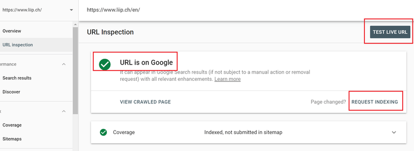 Google Search Console URL inspect report gives you the opportunity to do a live test & gather real time data