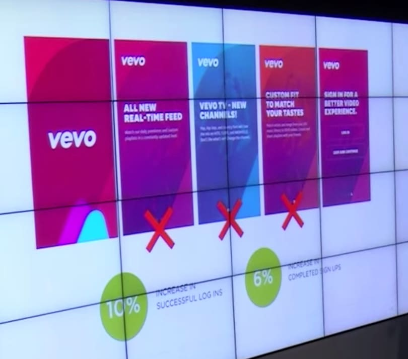 Vevo ruthlessly edited onboarded screens to keep only its essence