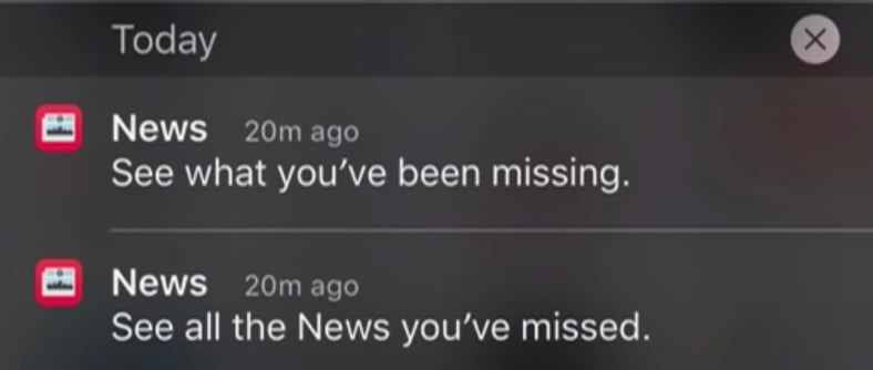 Apple News mobile app useless push notification