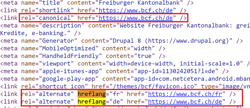Example of canonical & hreflang alternate