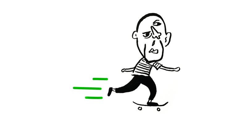 Picasso riding a skateboard