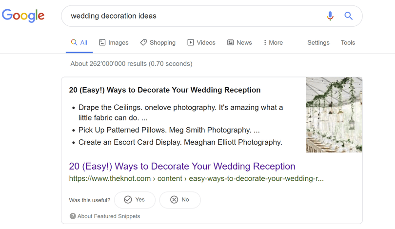 informational search query example with the keyword wedding decoration ideas