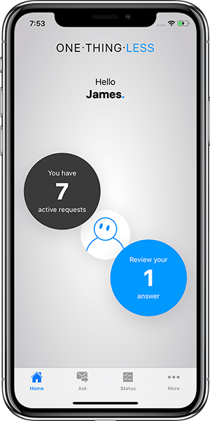 One.Thing.Less mobile app Homescreen