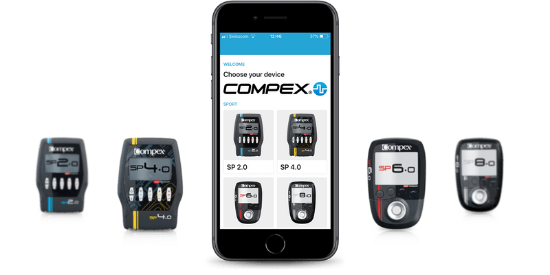 Compex Coach app listing the products of Compex